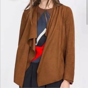 ZARA Basic Suede Draped Jacket